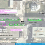 An aerial map detailing the on street parking changes for Madison Street between Madison Street Park and Channelside Drive