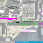 An aerial map detailing the on street parking changes for North 11th Street between Whiting Street and Washington Street