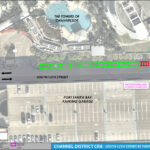 An aerial map detailing the on street parking changes for South 12th along the Towers of Channelside