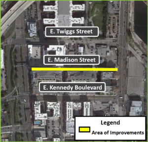Map showing the area of improvements on East Madison Street